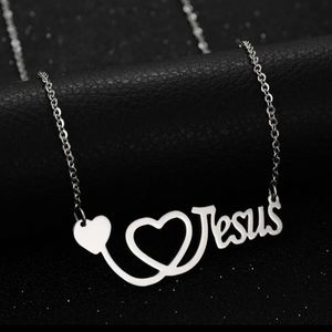❤Stainless❤Steel❤Jesus❤Heart❤Necklace❤